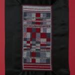 """Profondo rosso"", 2012 Punto croce. Cotone su cotone e strass Dimensioni ricamo:13 cm x 28 cm""Deep red"", 2012Cross stitchSize of the embroidery (made of cotton and strass): 13 cm x 28 cm"